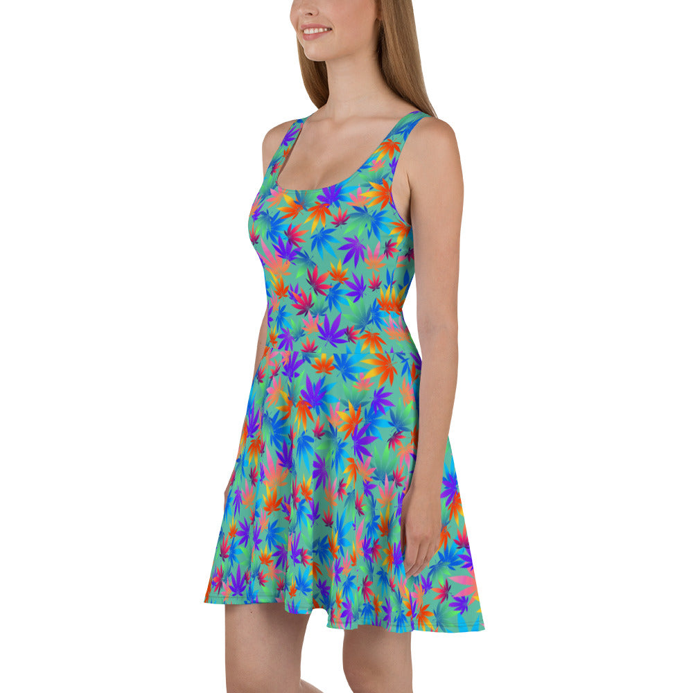 Biscayne Green Flame Point Multicolor Cannabis Leaves Skater Dress - Magic Leaf Tees