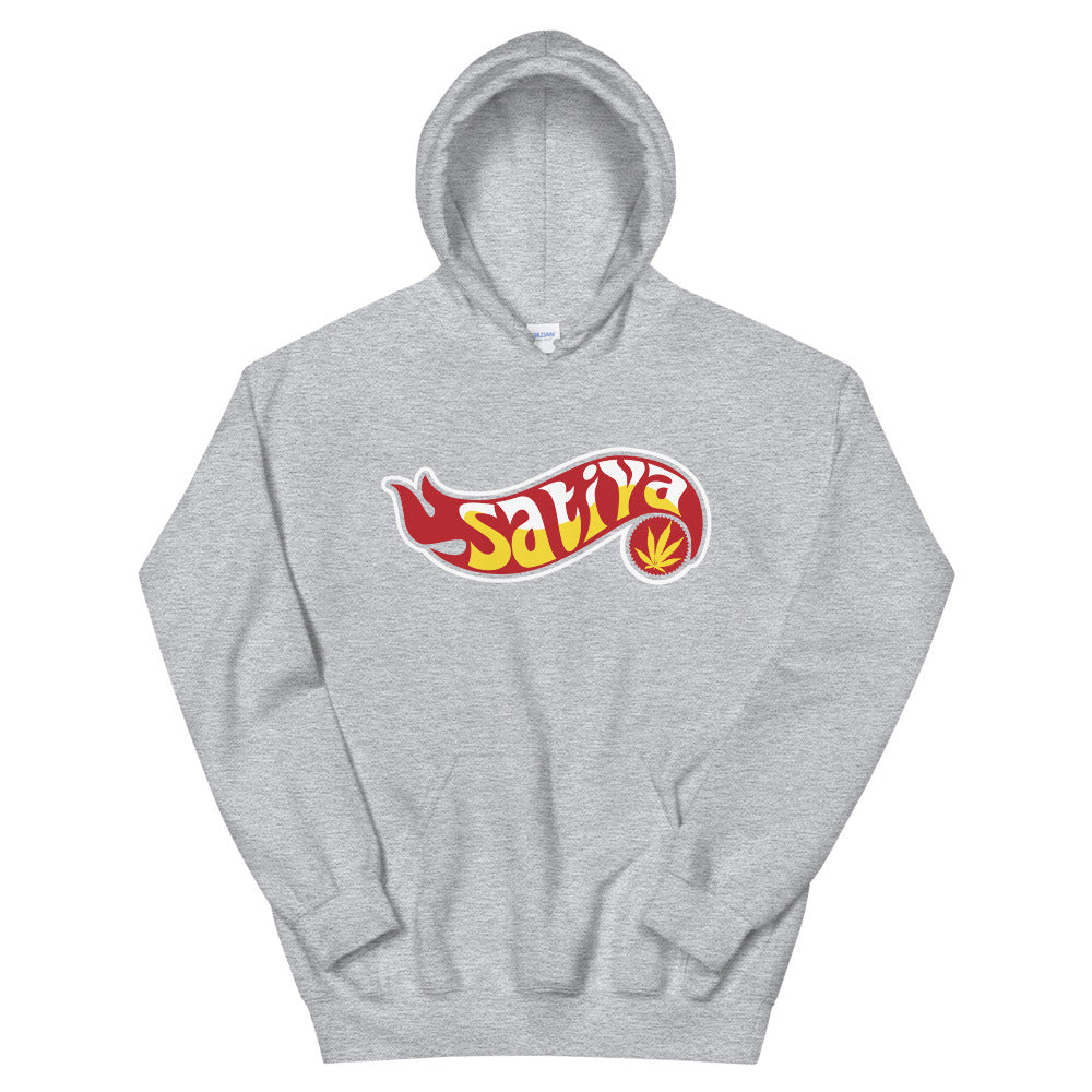 Sativa Flame Marijuana Heather Grey Hoodie - Magic Leaf Tees