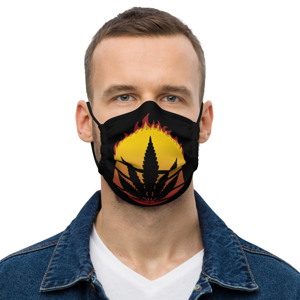 Retro Sun Marijuana Weed Cannabis Leaf Vintage Flame Face Mask - Magic Leaf Tees