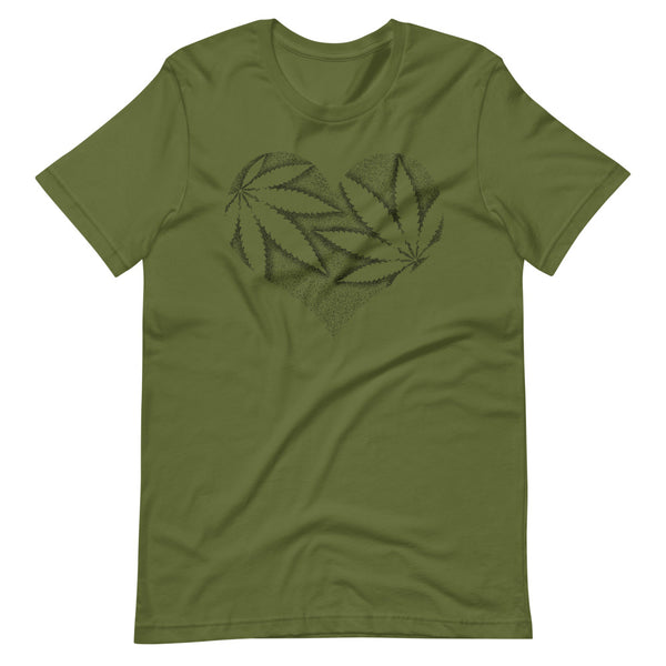 Stipple Shaded Marijuana Leaf Heart T-Shirt - Magic Leaf Tees