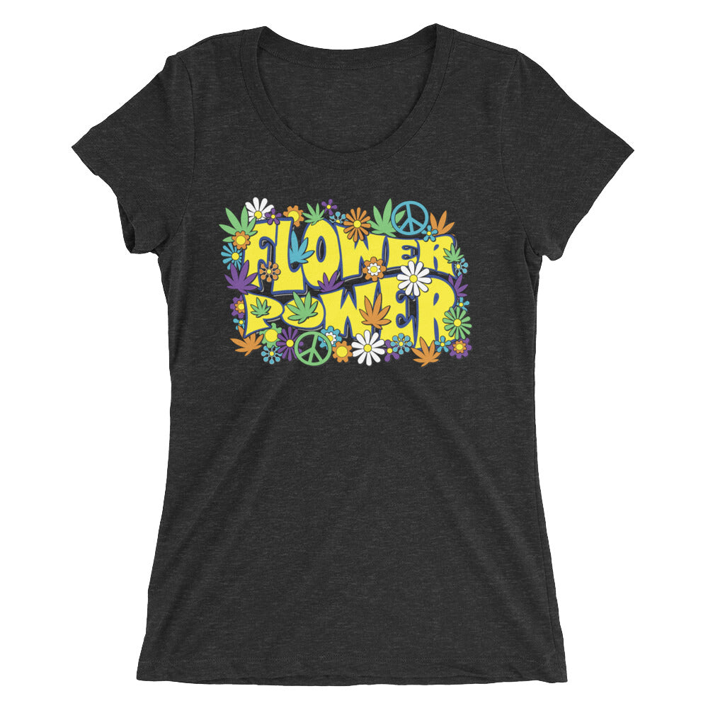 Flower Power Retro Hippie 60s 420 Women's T-Shirt - Magic Leaf Tees