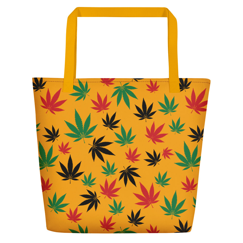 Saffron Yellow Rasta Cannabis Leaves Beach Bag - Magic Leaf Tees
