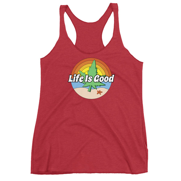 Life Is Good Cannabis Beach Women's Racerback Tank - Magic Leaf Tees