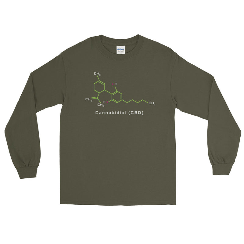 Cannabidiol CBD Molecule Long Sleeve T-Shirt - Magic Leaf Tees