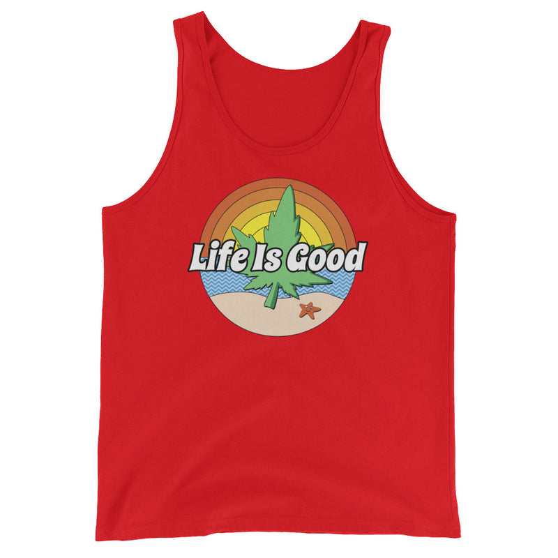 Life Is Good Beach Marijuana Unisex Tank Top - Magic Leaf Tees