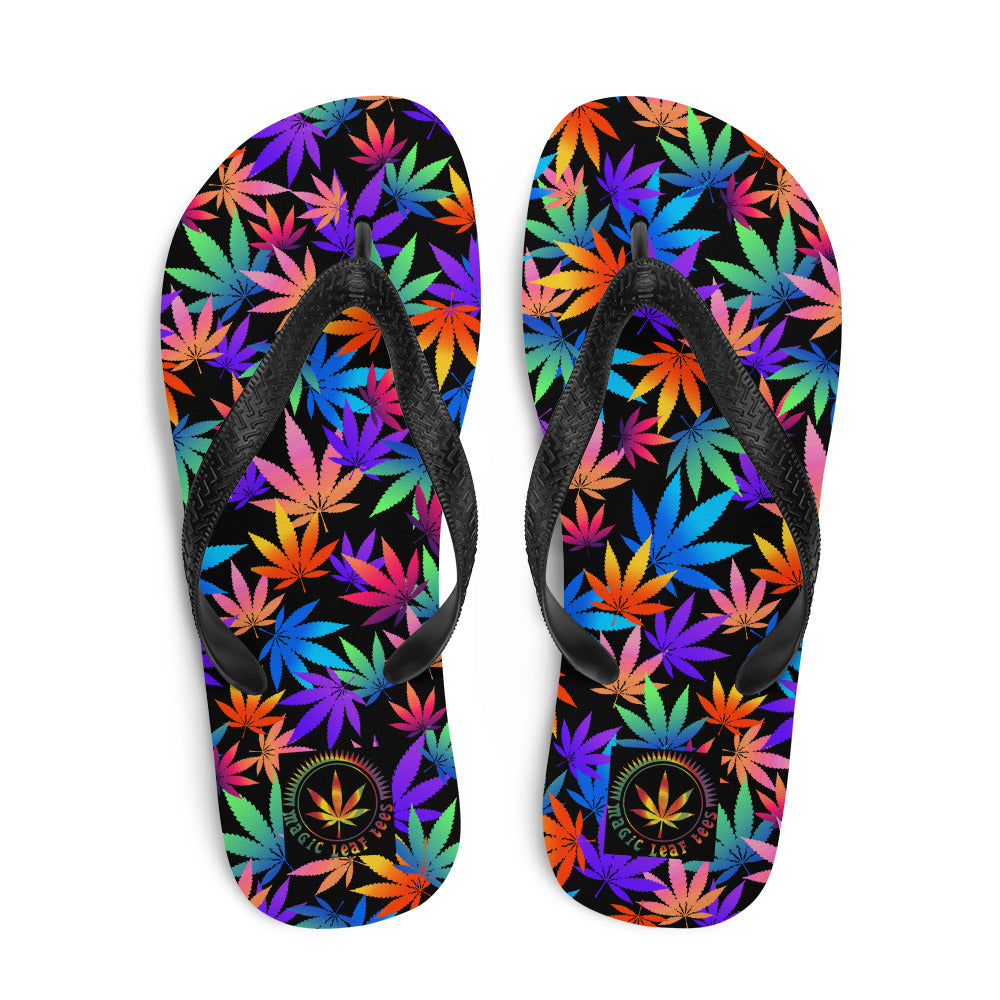 Midnight Black Cannabis Leaf Flip-Flops - Magic Leaf Tees