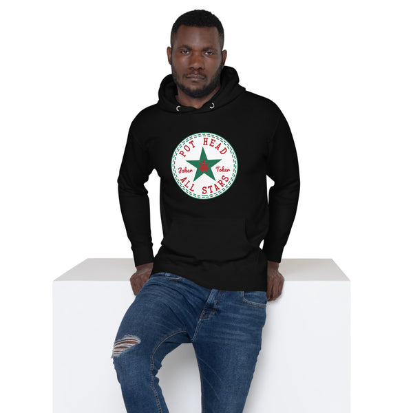 Pot Head All Stars Joker Toker Blsck Unisex Hoodie - Magic Leaf Tees