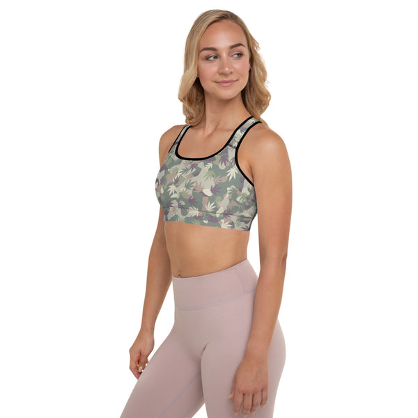 US Army OCP Camo Cannabis Leaves Padded Sports Bra - Magic Leaf Tees