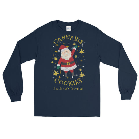Cannabis Cookies Are Santa's Favorite Long Sleeve T-Shirt - Magic Leaf Tees