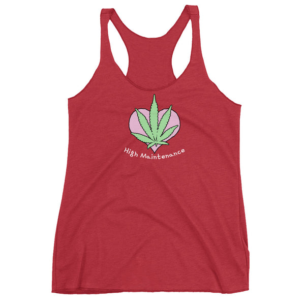 High Maintenance Pot Leaf Women's Racerback Tank - Magic Leaf Tees