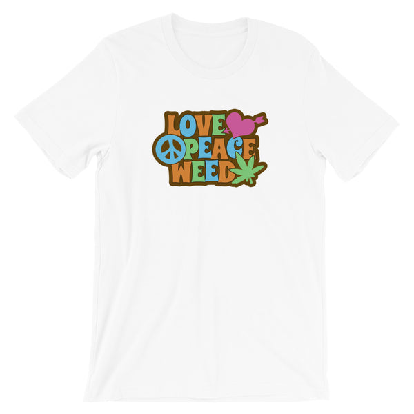 Retro Love Peace Weed T-Shirt - Magic Leaf Tees