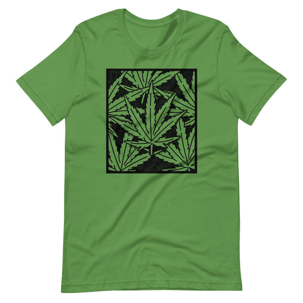 Cannabis Leaf Pattern Wood Block T-Shirt - Magic Leaf Tees