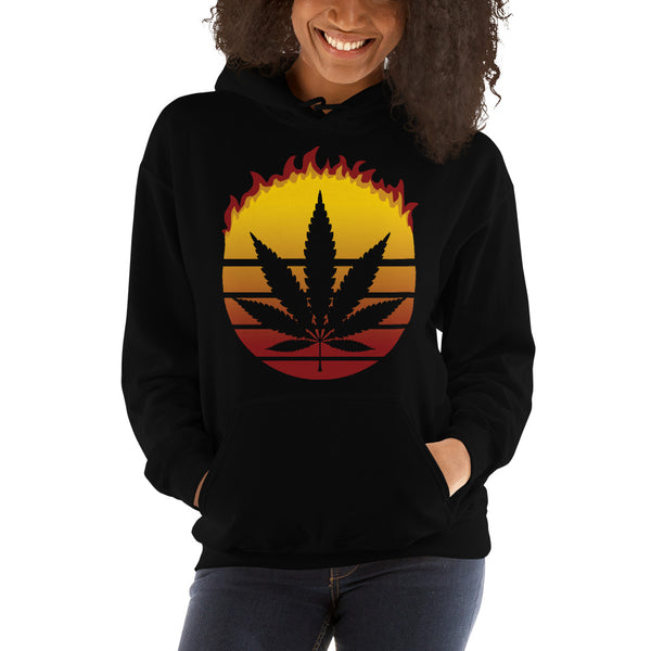 Retro Sun Marijuana Weed Cannabis Leaf Vintage Flame Hoodie - Magic Leaf Tees