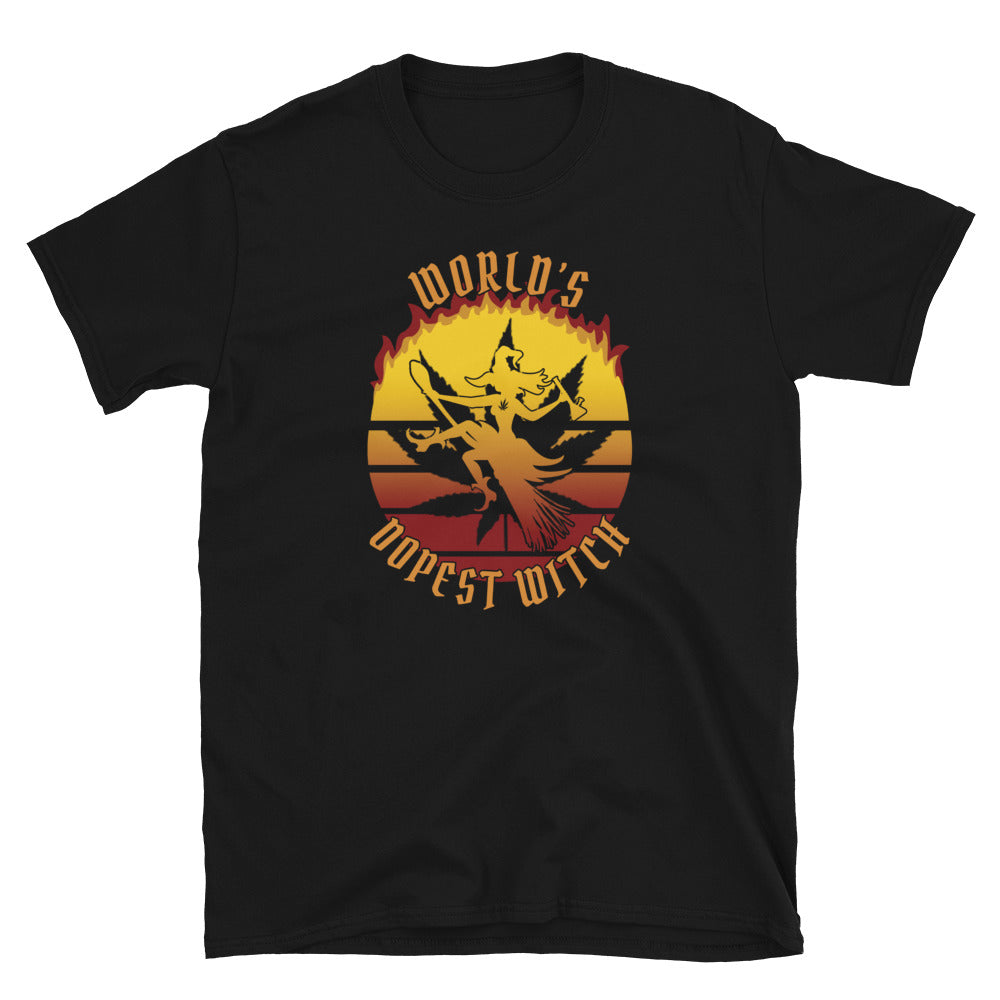World's Dopest Witch 420 Halloween Black T-Shirt - Magic Leaf Tees