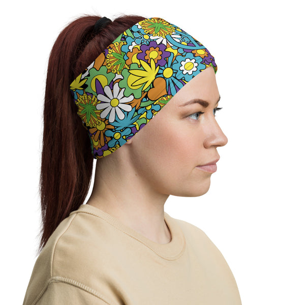 Good Day Sunshine Hippy Marijuana Neck Gaiter - Magic Leaf Tees
