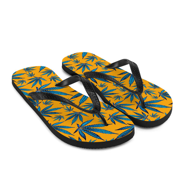 Saffron Yellow And Classic Blue Cannabis Leaf Flip-Flops - Magic Leaf Tees