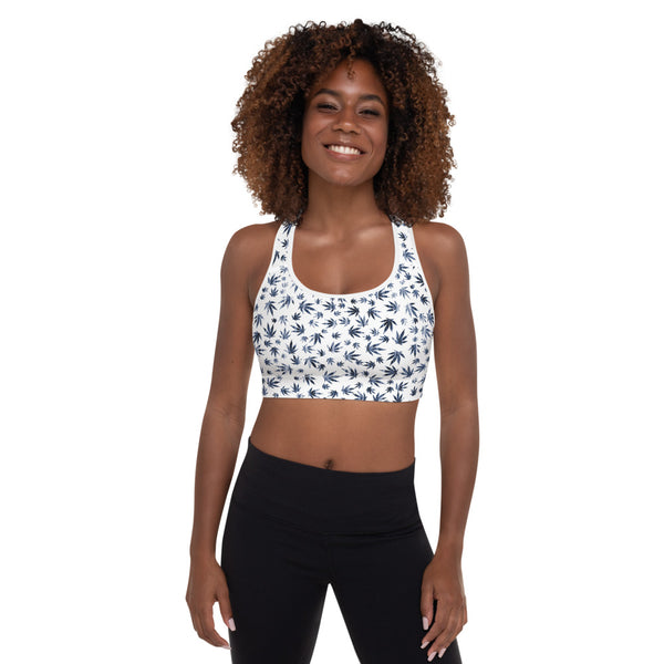 Arctic White And Faded Denim Print Cannabis Leaves Padded Sports Bra - Magic Leaf Tees