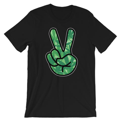 Peace Sign Hippie Stoner T-Shirt - Magic Leaf Tees