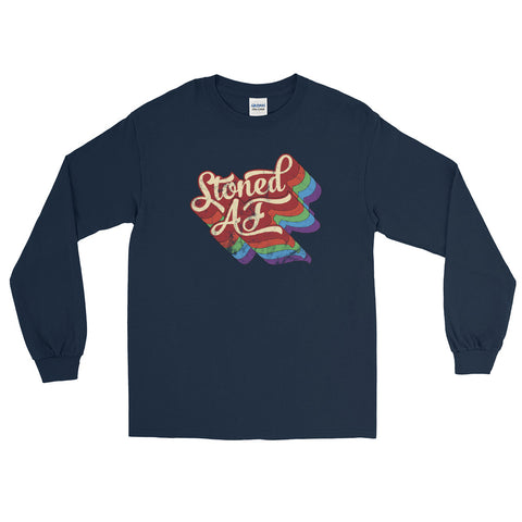 Stoned AF Funny Cannabis Long Sleeve T-Shirt - Magic Leaf Tees