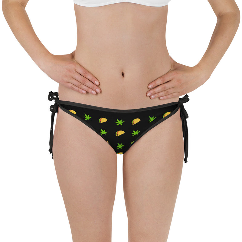 Midnight Black And Flame Scarlet Tacos And Weed Reversible Bikini Bottom - Magic Leaf Tees