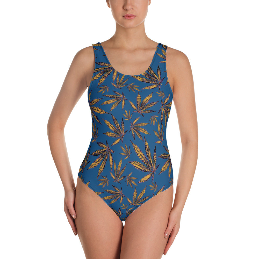 Classic Blue And Saffron Yellow Cannabis Leaf Women's One-Piece Swimsuit - Magic Leaf Tees