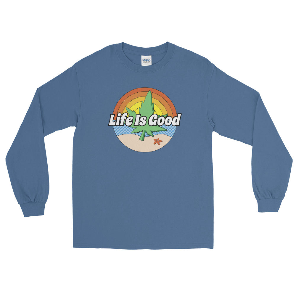 Life Is Good Marijuana Beach Long Sleeve T-Shirt - Magic Leaf Tees