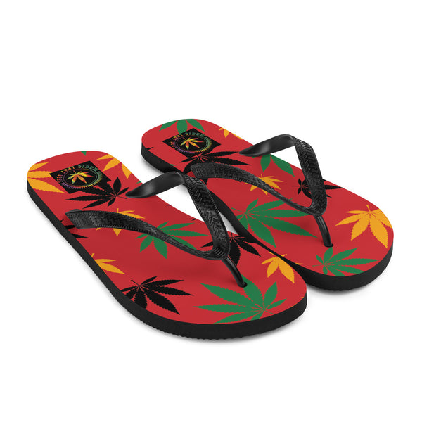 Flame Scarlet Rasta Cannabis Leaves Flip-Flops - Magic Leaf Tees