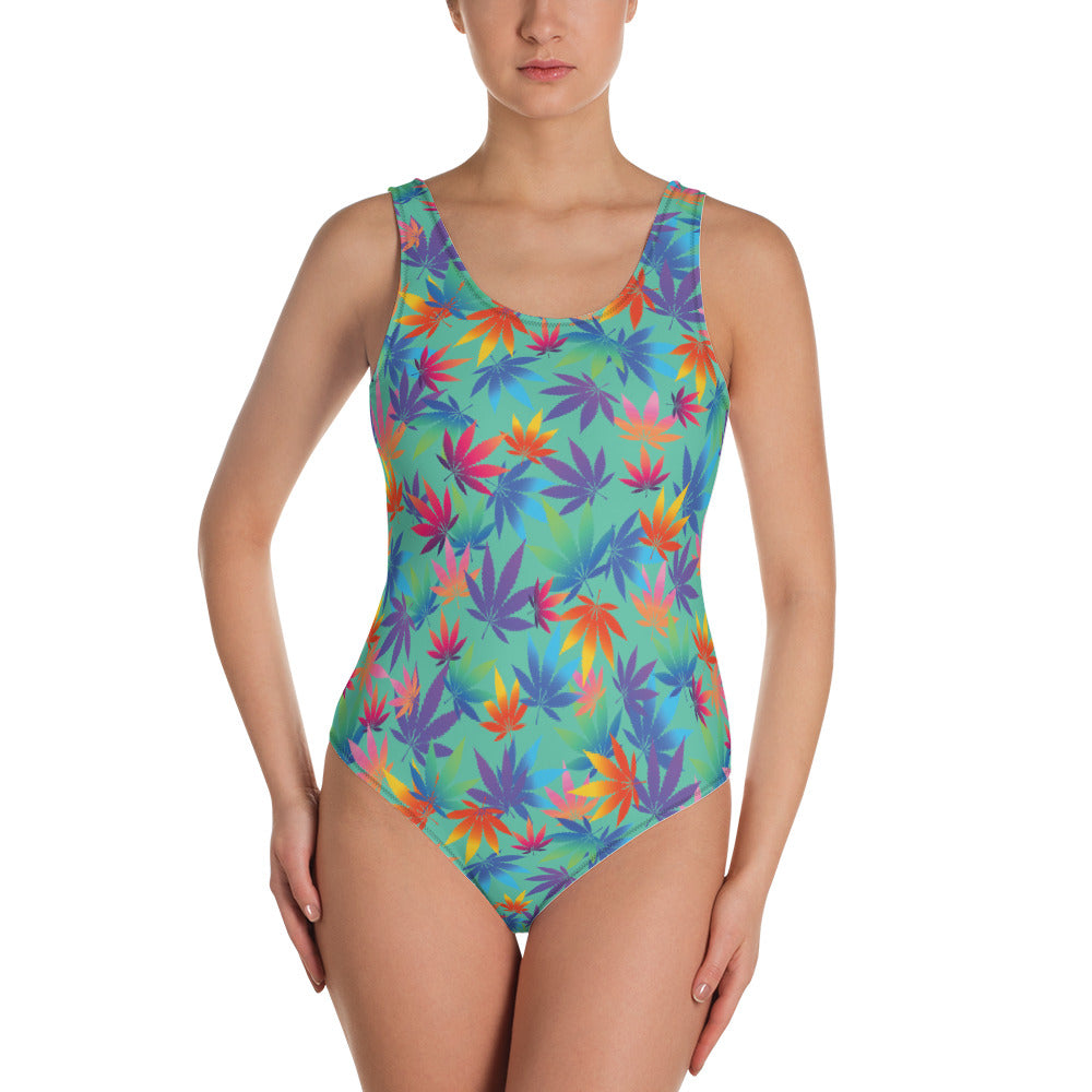 Biscay Green Cannabis Leaves One-Piece Swimsuit - Magic Leaf Tees