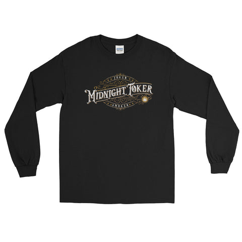 Vintage Joker Smoker Midnight Toker Long Sleeve Cannabis T-Shirt - Magic Leaf Tees