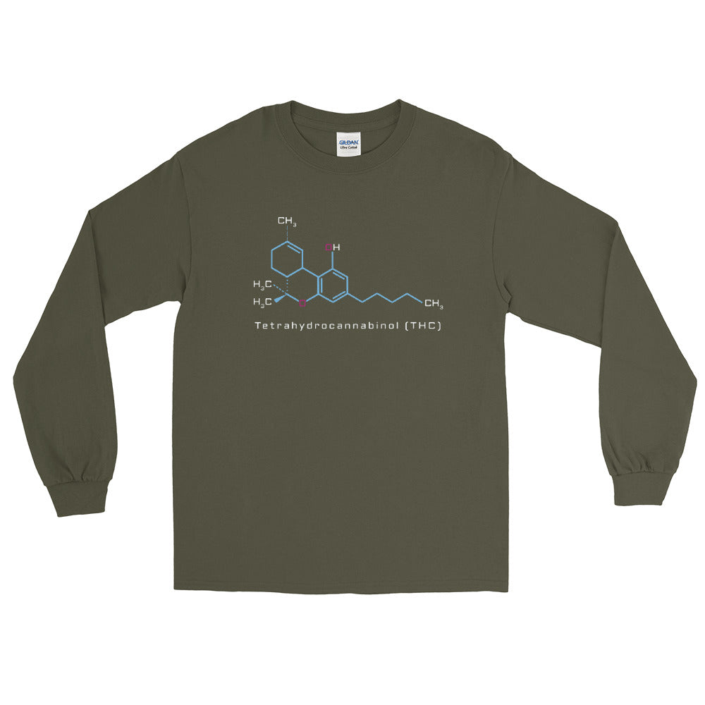 Tetrahydrocannabinol THC Molecule Long Sleeve T-Shirt - Magic Leaf Tees