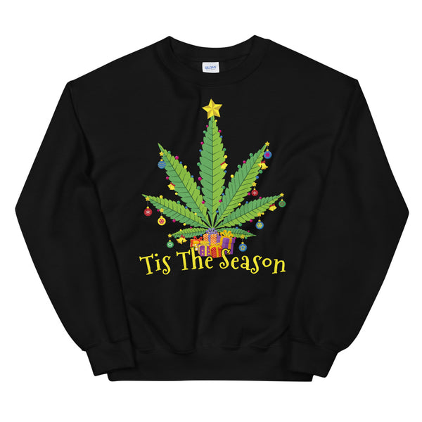 Tis The Season Weed Christmas Sweatshirt - Magic Leaf Tees
