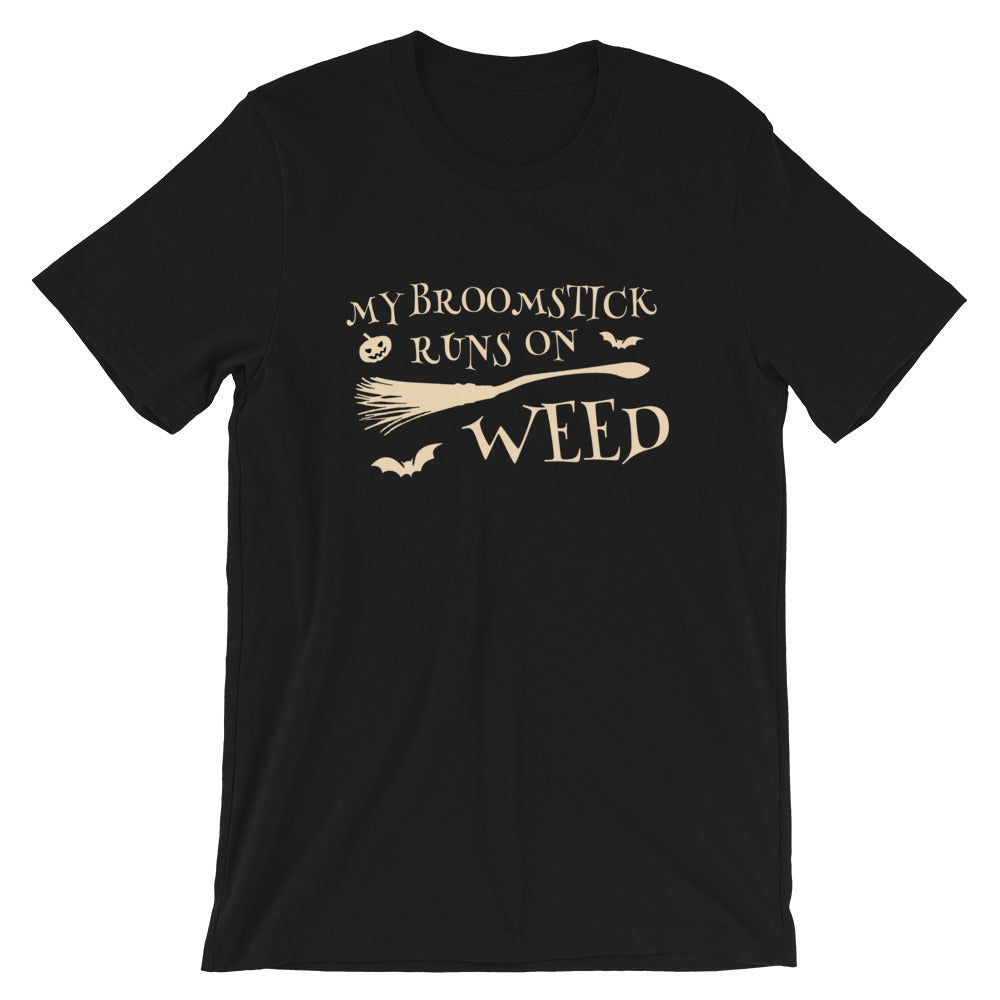 My Broomstick Runs On Weed Halloween 420 T-Shirt - Magic Leaf Tees
