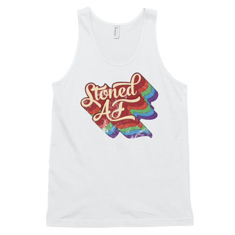Stoned AF Funny Cannabis Unisex Tank Top - Magic Leaf Tees