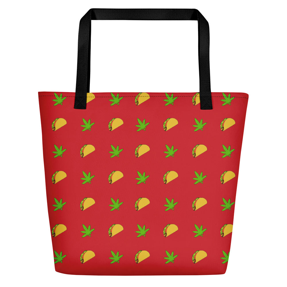 Flame Scarlet Tacos And Weed Large Beach Bag - Magic Leaf Tees