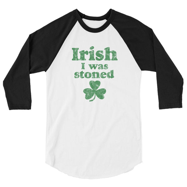 Irish I Was Stoned Funny Stoner St Patrick's Day Baseball Shirt - Magic Leaf Tees