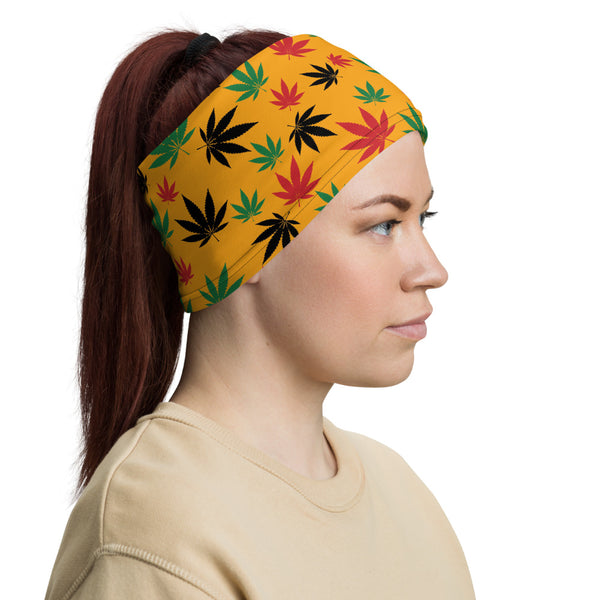 Saffron Yellow Rasta Marijuana Leaves Neck Gaiter - Magic Leaf Tees
