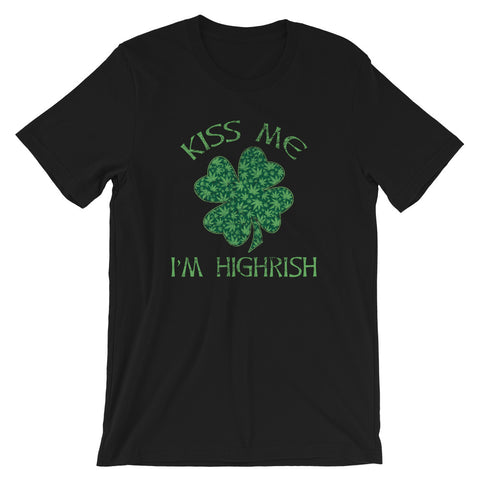 Kiss Me I'm Highrish Shamrock St Patrick's Day Cannabis T-Shirt - Magic Leaf Tees