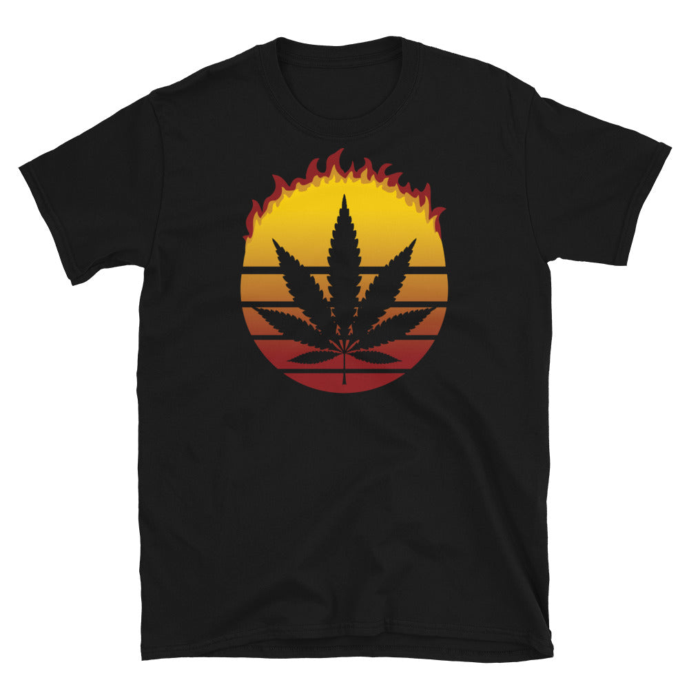 Retro Sun Marijuana Weed Cannabis Leaf Vintage Flame T-Shirt - Magic Leaf Tees