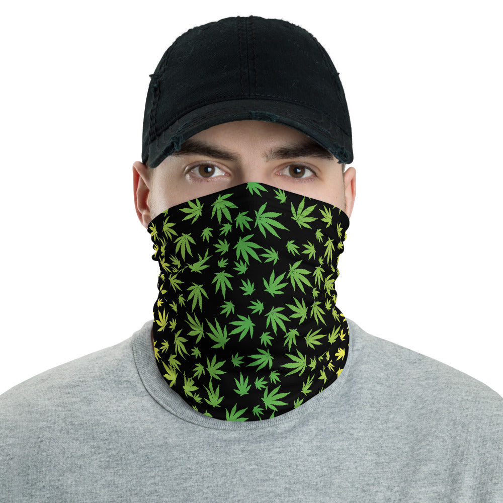 Yellow And Green Marijuana Leaf Neck Gaiter - Magic Leaf Tees