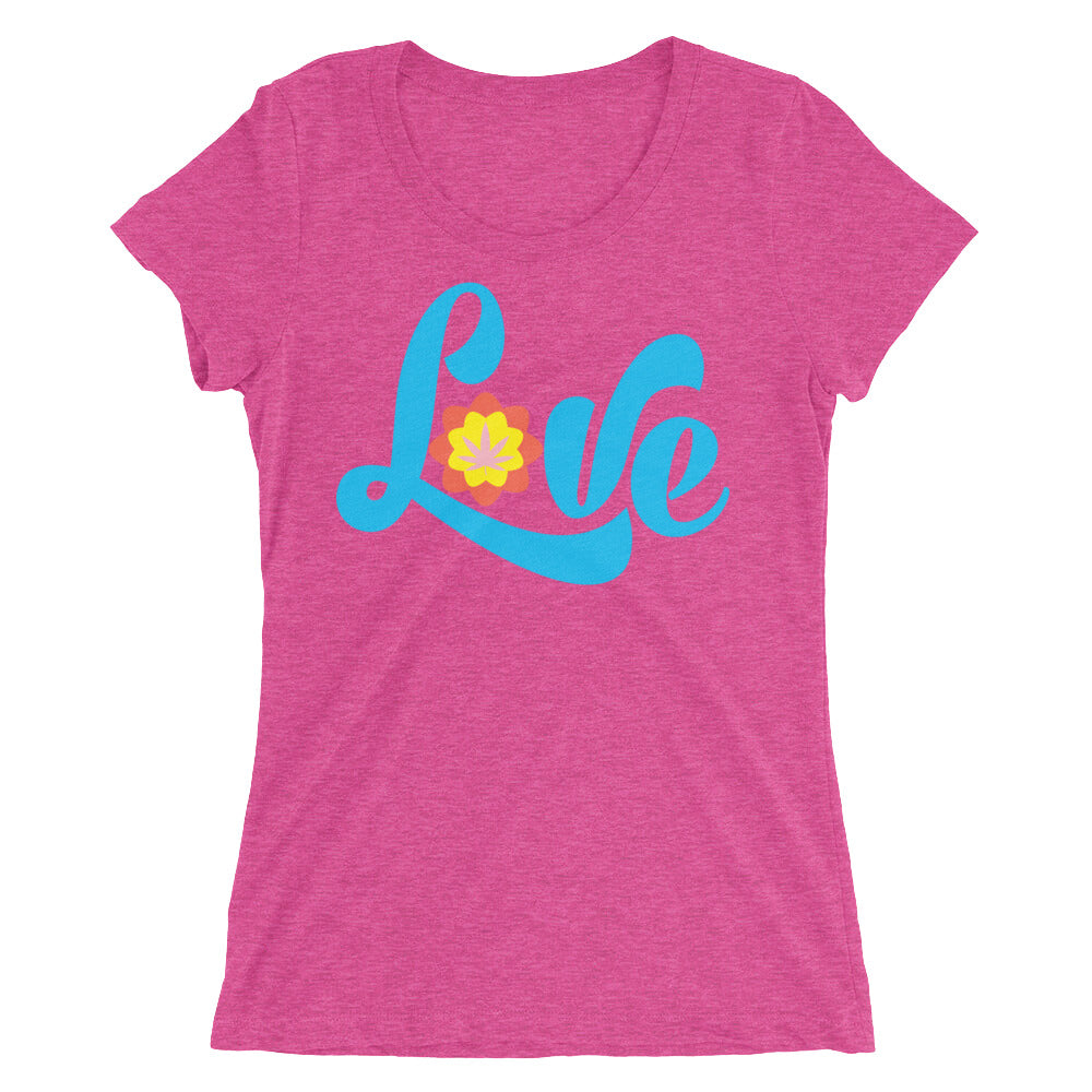 Love Marijuana Leaf Retro Hippie Ladies' T-Shirt - Magic Leaf Tees