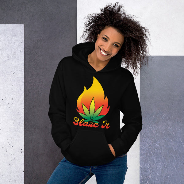 Blaze It 420 Pot Leaf Flame Black Hoodie - Magic Leaf Tees