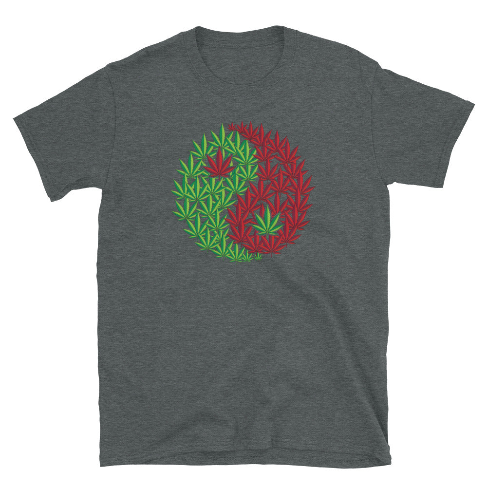 Marijuana Leaf Daoist Yin Yang Symbol T-Shirt - Magic Leaf Tees