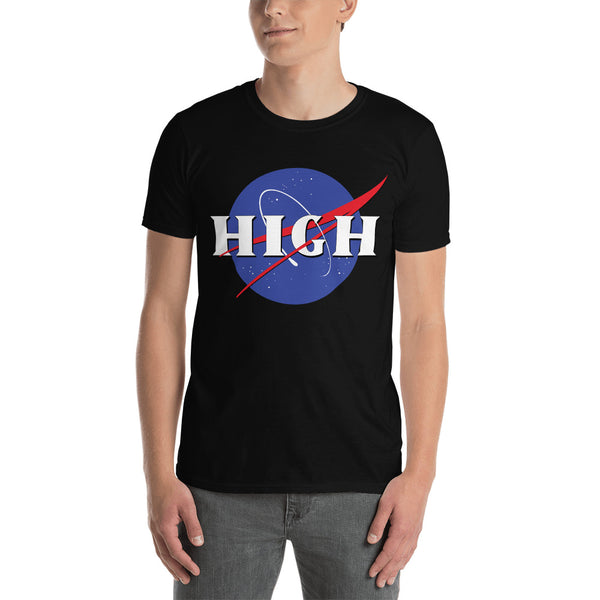 Nasa Logo High In Outer Space Stoner Black T-Shirt - Magic Leaf Tees