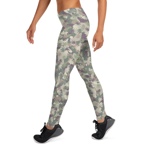 US Army OCP Camo Cannabis Leaves Leggings