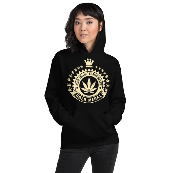 Joint Rolling Champion Funny Weed Black Hoodie - Magic Leaf Tees