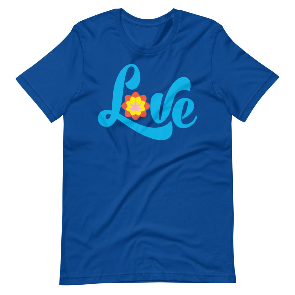 Love Marijuana Leaf Retro Hippie T-Shirt - Magic Leaf Tees