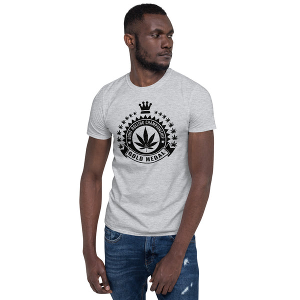 Joint Rolling Champion Funny Weed Heather Grey T-Shirt - Magic Leaf Tees
