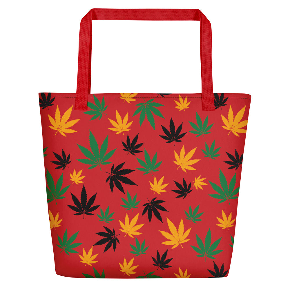 Flame Scarlet Rasta Cannabis Leaves Beach Bag