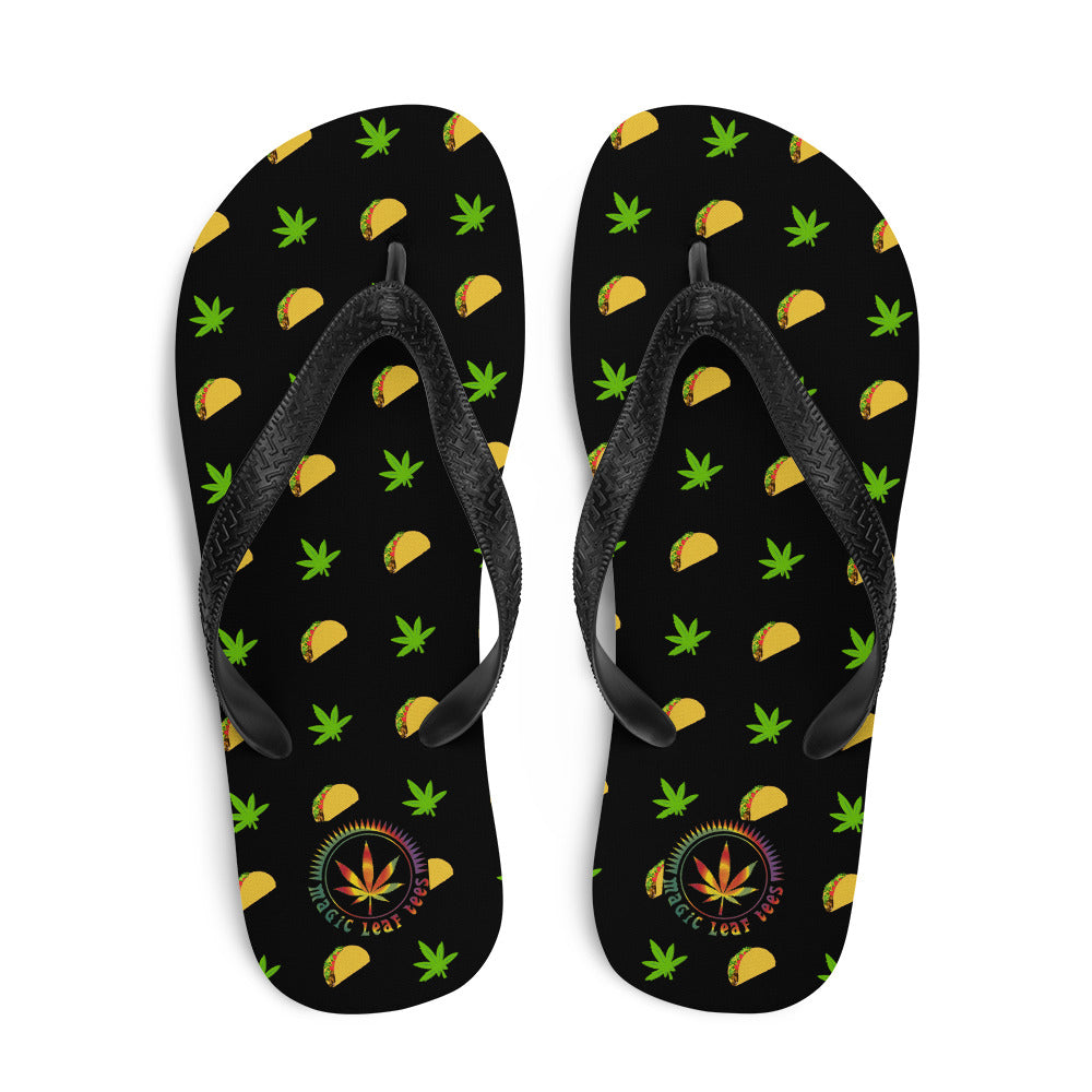Midnight Black Tacos And Weed Flip-Flops - Magic Leaf Tees