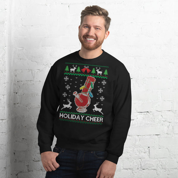 Ugly Christmas Sweater Holiday Cheer Stoner Bong Black Jumper Sweatshirt - Magic Leaf Tees